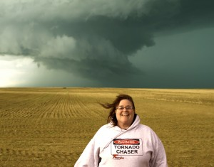 Author Mary Shafer chasing storms in Eastern Colorado